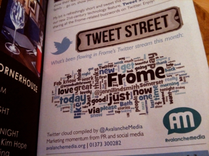 Avalanche Media's Frome word cloud in the March issue of The List